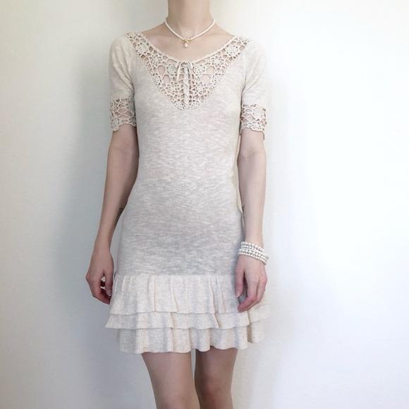 d50de84ebf08 Mango Dresses | Vintage Crochet Knit Mini Dress W Ruffles | Poshmark